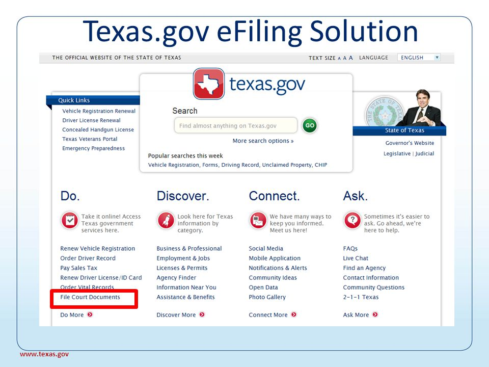 Official website of the State of Texas Texas.gov www.texas.gov Texas eFiling – The History www.texas.gov