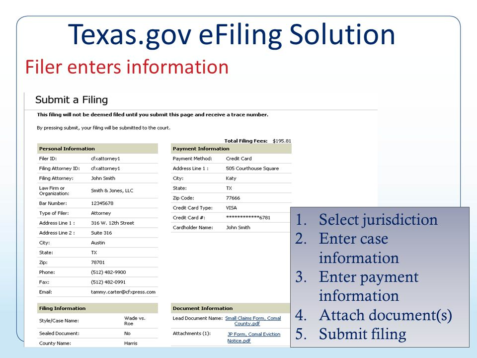 Filer accesses account Texas.gov eFiling Solution