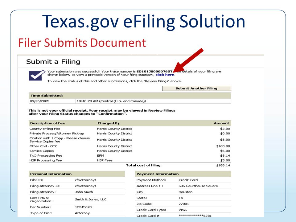 Filer enters information 1.Select jurisdiction 2.Enter case information 3.Enter payment information 4.Attach document(s) 5.Submit filing Texas.gov eFiling Solution
