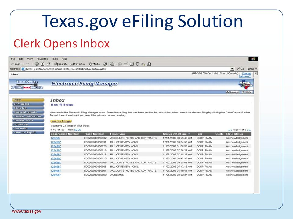 Filer Receives Acknowledgement From: eFilingStg@texasonline.state.tx.us Sent: Tuesday, August 22, 2006 10:24 AM To: voefiling@yahoo.com Subject: Filing Trace Number ED126J010150507 has been received by the eFiling for Courts PLEASE DO NOT REPLY TO THIS E-MAIL.