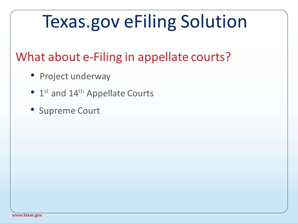 SB 237 Rules approved by Supreme Court, 2008 JCIT standards adopted March 2008 System tests completed, March 2008 First justice courts in Q2, 2008 What about e-Filing in justice courts.