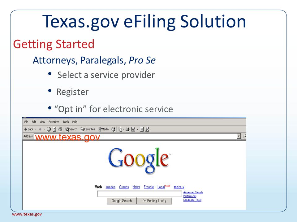 Project underway 1 st and 14 th Appellate Courts Supreme Court What about e-Filing in appellate courts.