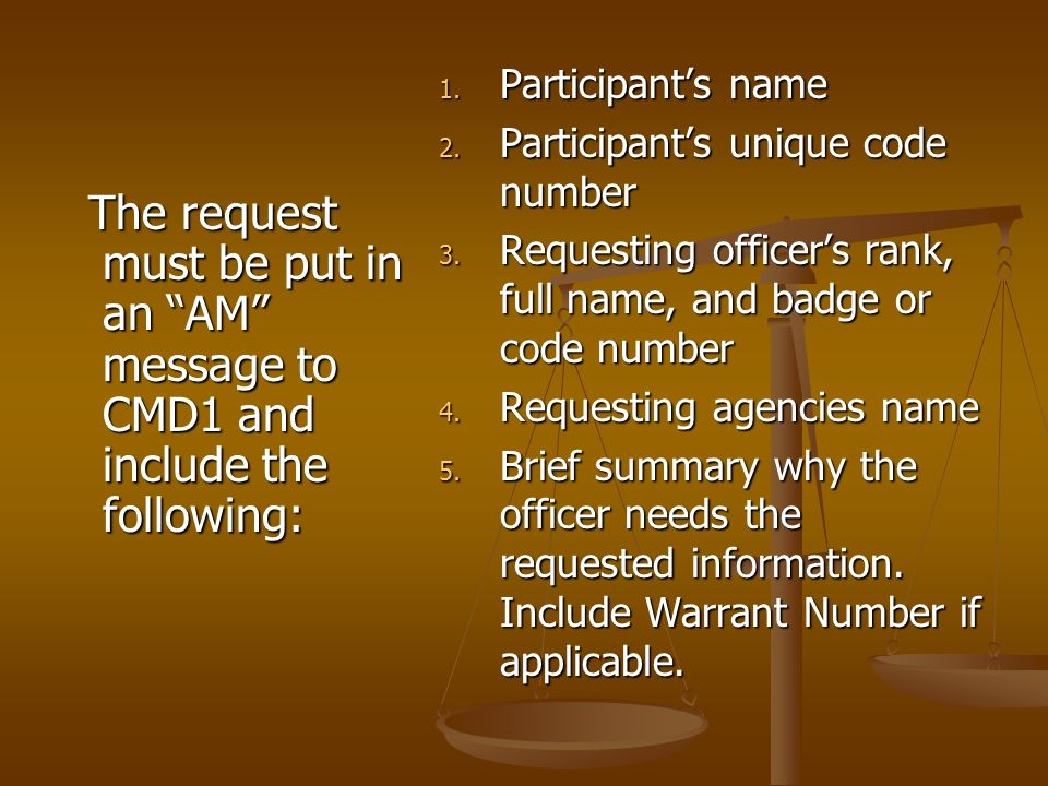 "The request must be put in an ""AM"" message to CMD1 and include the following: The request must be put in an ""AM"" message to CMD1 and include the follo"