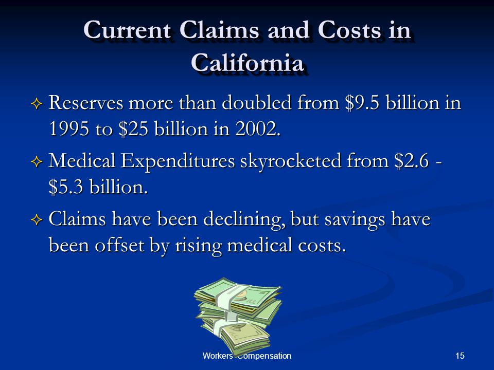 15Workers Compensation Current Claims and Costs in California  Reserves more than doubled from $9.5 billion in 1995 to $25 billion in 2002.