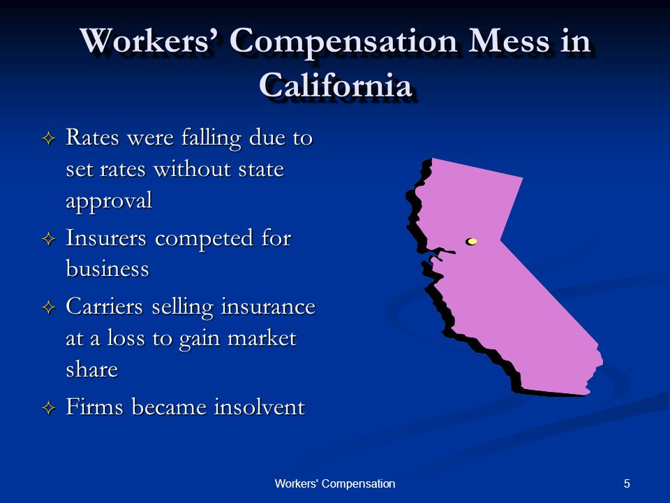 5Workers Compensation Workers' Compensation Mess in California  Rates were falling due to set rates without state approval  Insurers competed for business  Carriers selling insurance at a loss to gain market share  Firms became insolvent