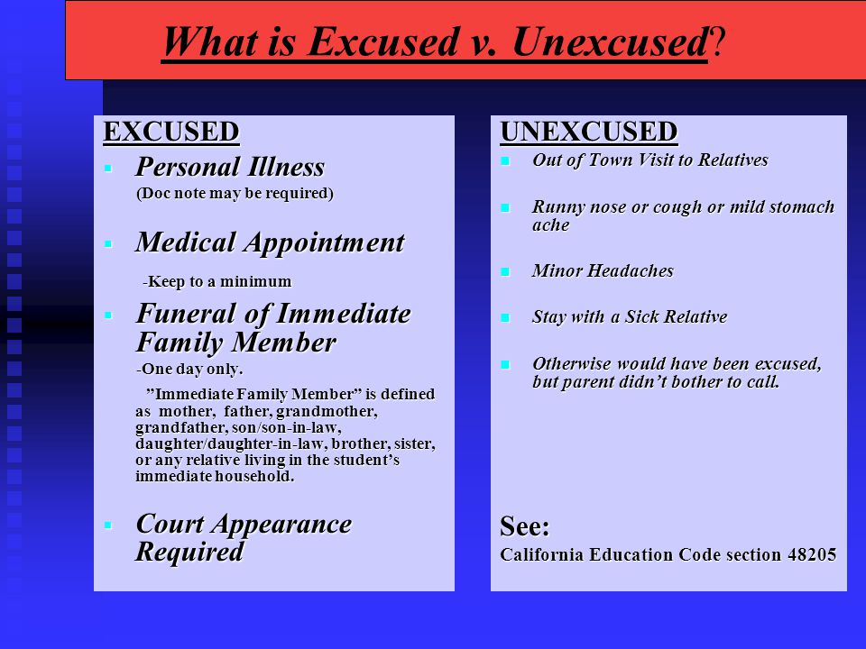 What is Excused v. Unexcused.