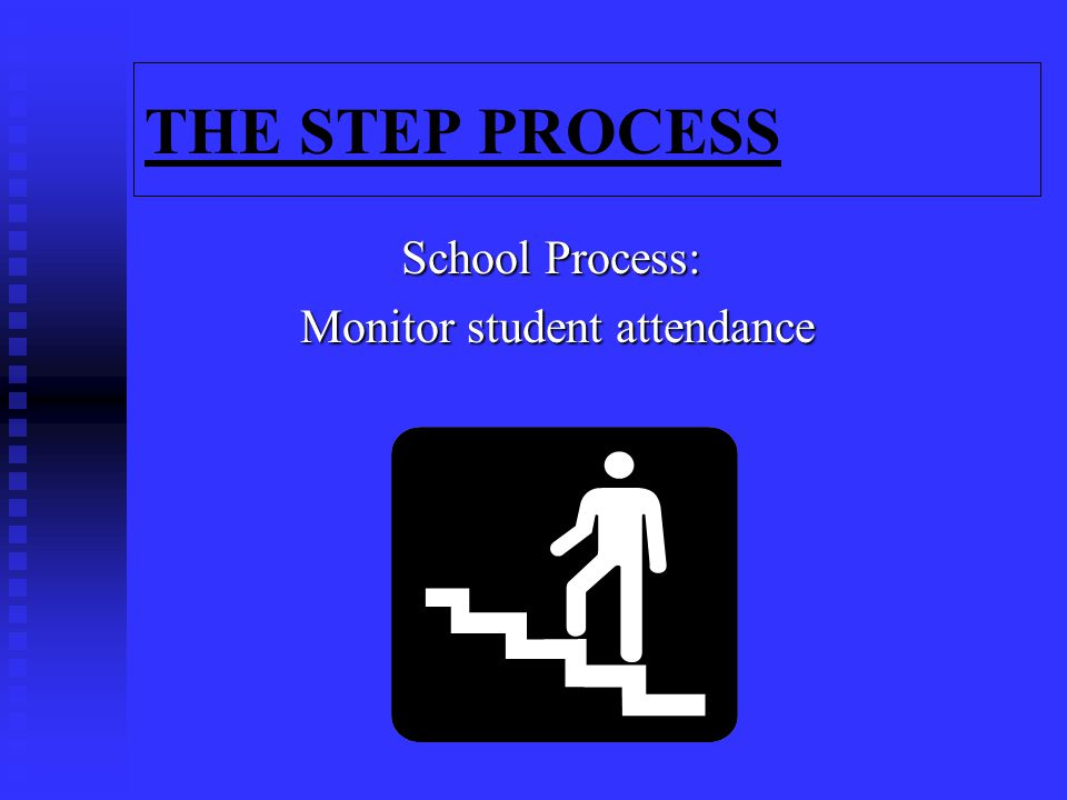 THE STEP PROCESS School Process: Monitor student attendance Monitor student attendance