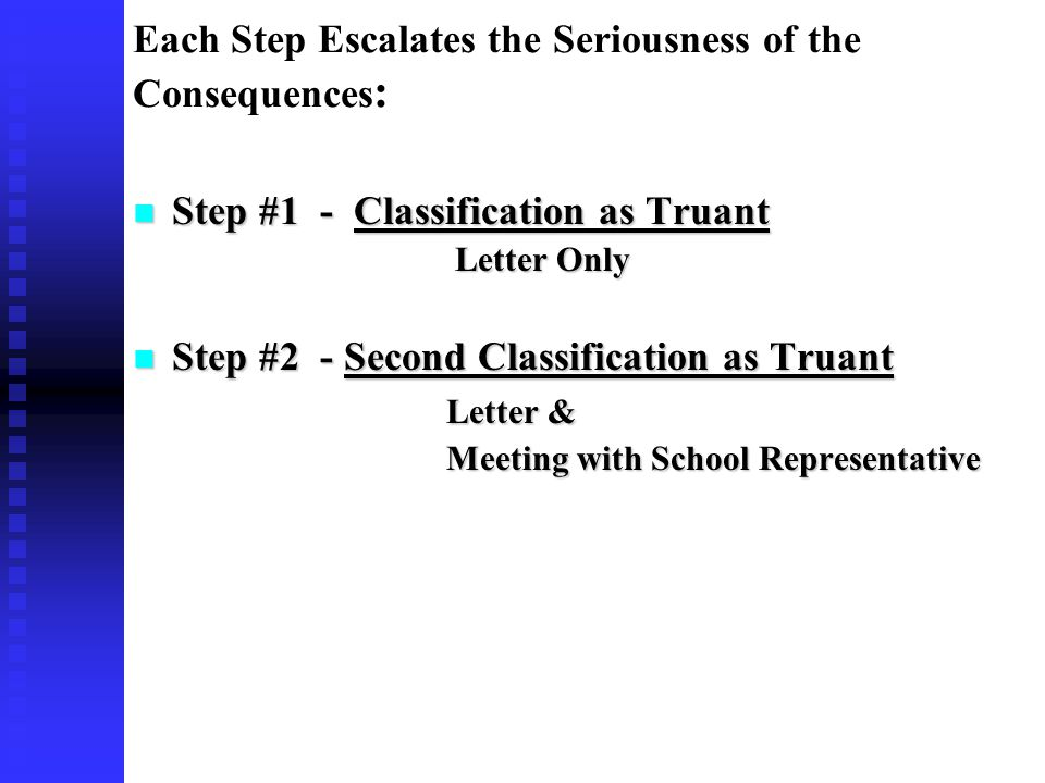 Each Step Escalates the Seriousness of the Consequences : Step #1 - Classification as Truant Step #1 - Classification as Truant Letter Only Letter Only Step #2 - Second Classification as Truant Step #2 - Second Classification as Truant Letter & Meeting with School Representative