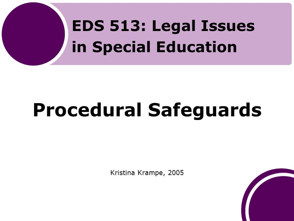 Introduction to the Presentation Prior to beginning this presentation, you should have read Chapter 13 of Yell's (2006) The Law and Special Education, 2nd Edition Upon completion of this session, you should be able to discuss the safeguards requirements under the IDEA