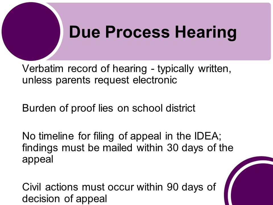 Due Process Hearing Verbatim record of hearing - typically written, unless parents request electronic Burden of proof lies on school district No timeline for filing of appeal in the IDEA; findings must be mailed within 30 days of the appeal Civil actions must occur within 90 days of decision of appeal