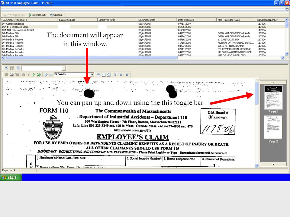 The document will appear in this window. You can pan up and down using the this toggle bar
