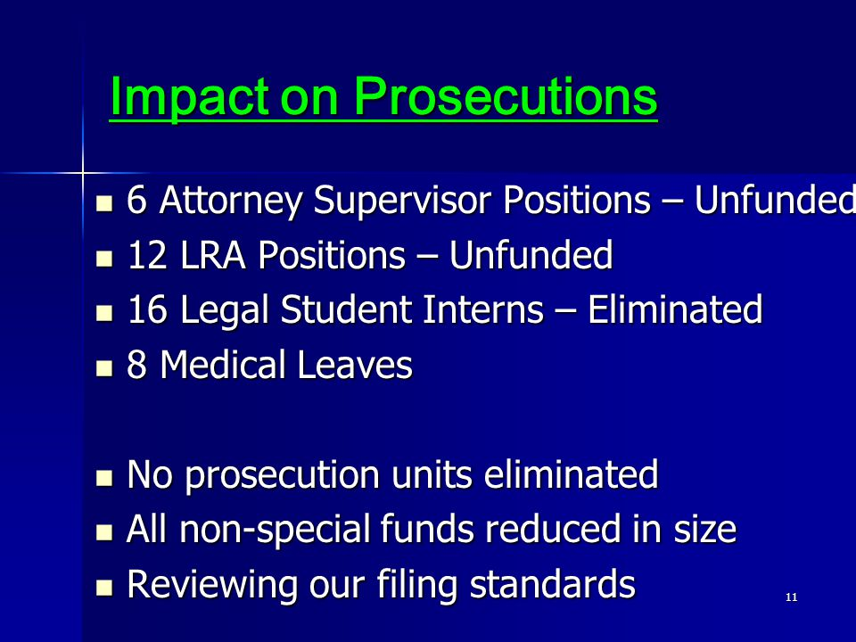 11 Impact on Prosecutions 6 Attorney Supervisor Positions – Unfunded 6 Attorney Supervisor Positions – Unfunded 12 LRA Positions – Unfunded 12 LRA Positions – Unfunded 16 Legal Student Interns – Eliminated 16 Legal Student Interns – Eliminated 8 Medical Leaves 8 Medical Leaves No prosecution units eliminated No prosecution units eliminated All non-special funds reduced in size All non-special funds reduced in size Reviewing our filing standards Reviewing our filing standards