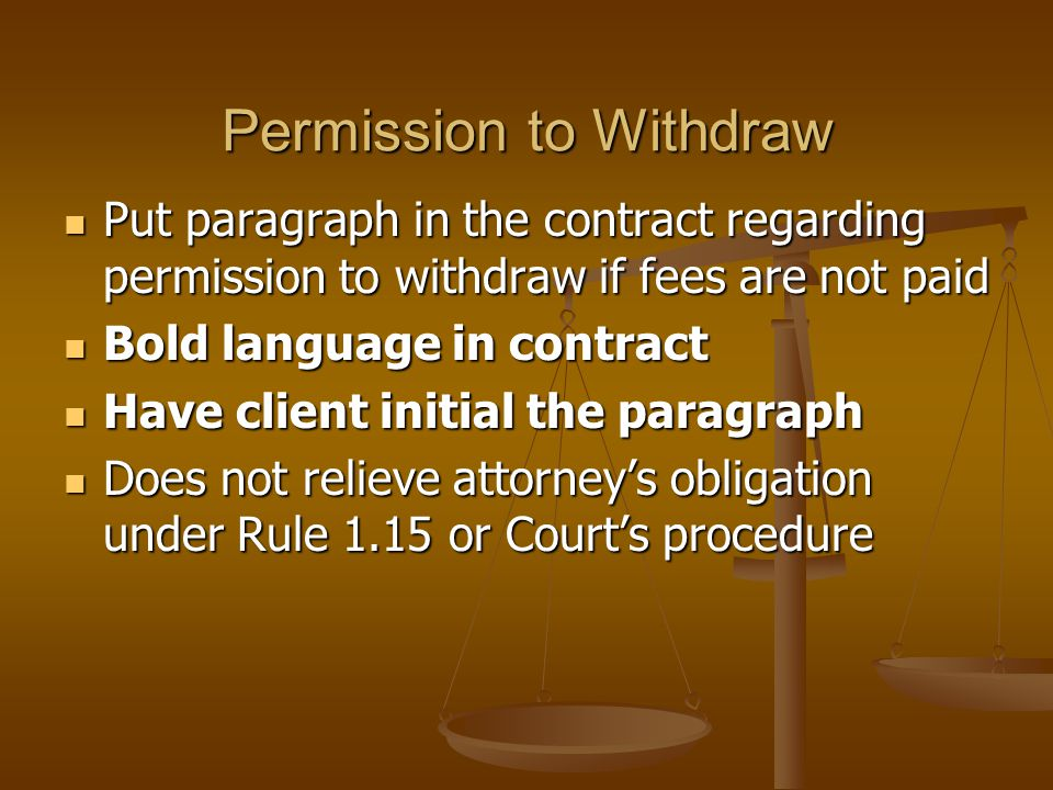 Modified Rule 1.04 Eliminates the Pure forwarding fee for attorneys who do not work on a case but refer it to another attorney Eliminates the Pure forwarding fee for attorneys who do not work on a case but refer it to another attorney Requires written consent by client disclosing division of fees arrangement Requires written consent by client disclosing division of fees arrangement Lawyer Referral Programs are exempt Lawyer Referral Programs are exempt TDRPC Rule 1.04: TDRPC Rule 1.04: