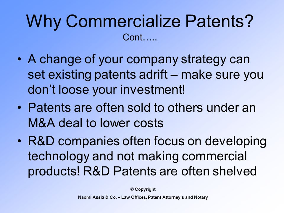 Why Commercialize Patents. Cont…..