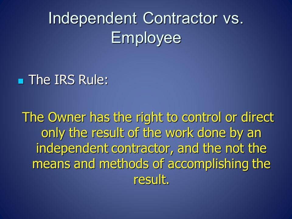 Independent Contractor vs.