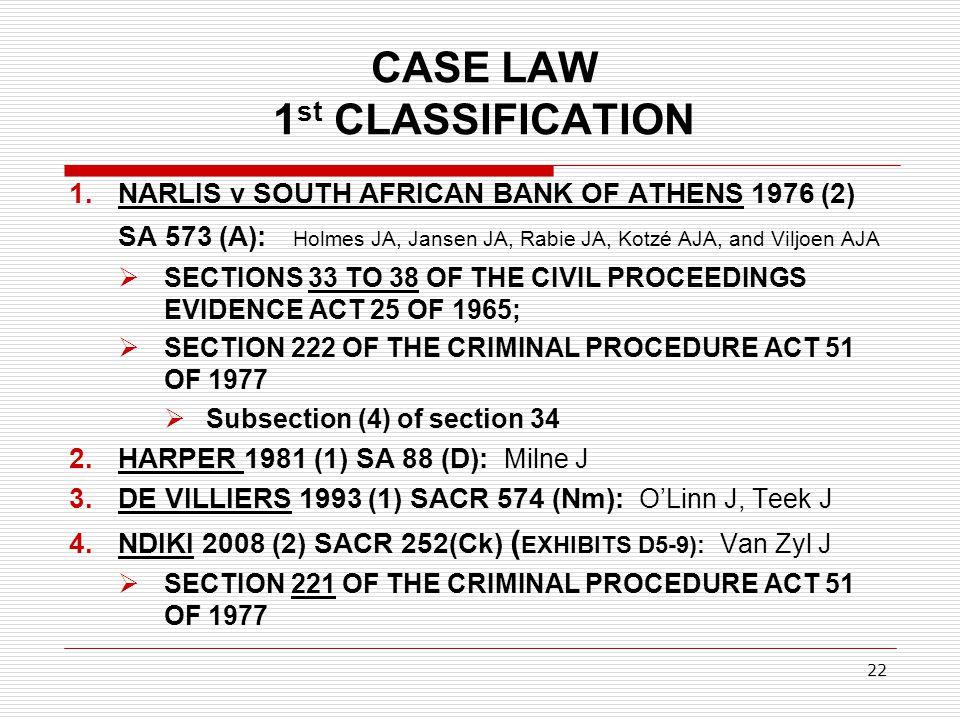 CASE LAW 1 st CLASSIFICATION 1.NARLIS v SOUTH AFRICAN BANK OF ATHENS 1976 (2) SA 573 (A): Holmes JA, Jansen JA, Rabie JA, Kotzé AJA, and Viljoen AJA 