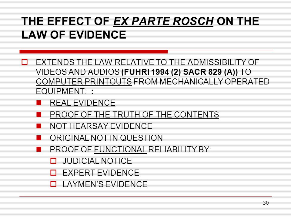 30 THE EFFECT OF EX PARTE ROSCH ON THE LAW OF EVIDENCE  EXTENDS THE LAW RELATIVE TO THE ADMISSIBILITY OF VIDEOS AND AUDIOS (FUHRI 1994 (2) SACR 829 (