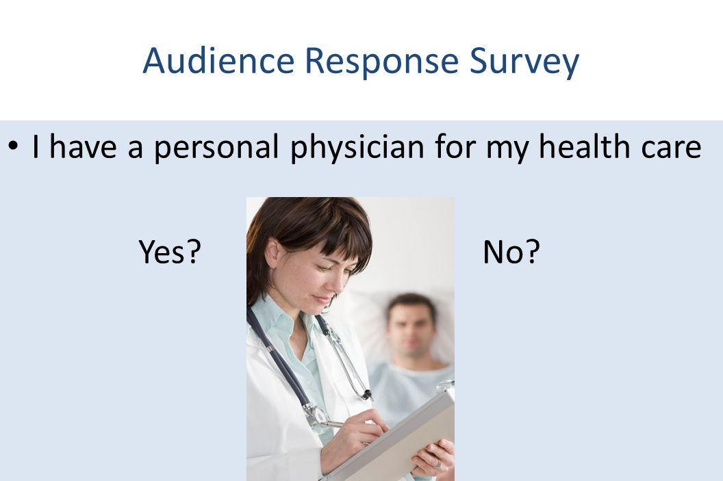 Audience Response Survey I have a personal physician for my health care Yes? No?
