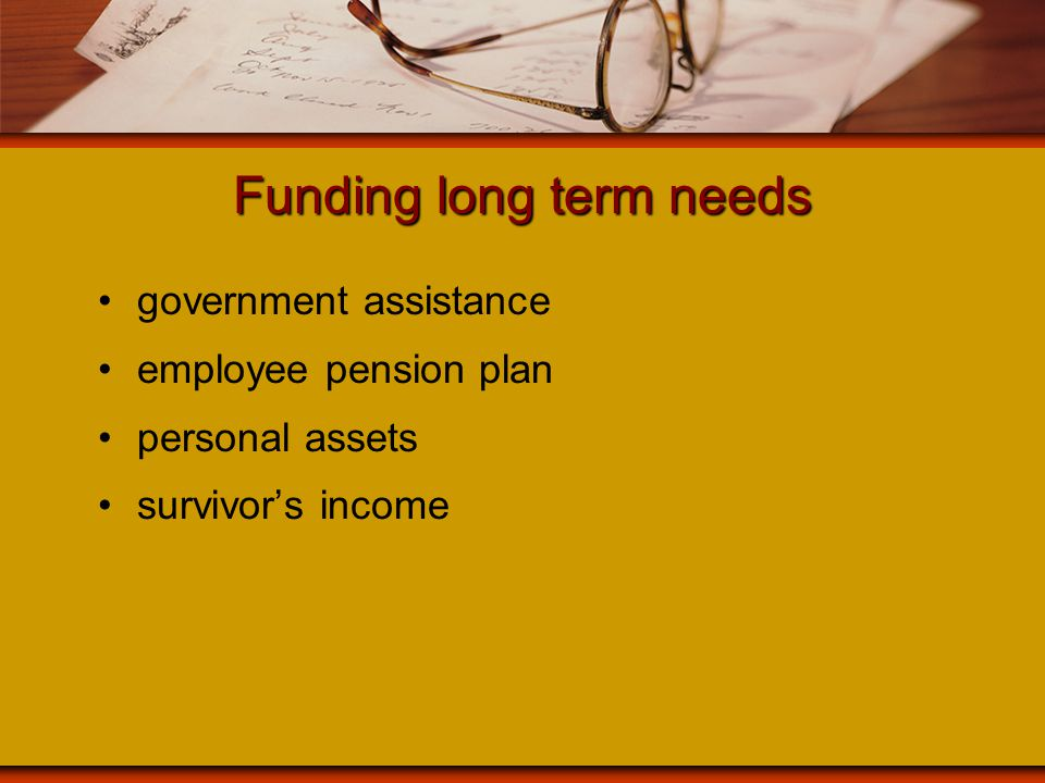 Funding long term needs government assistance employee pension plan personal assets survivor's income