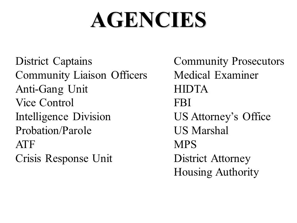 AGENCIES District Captains Community Liaison Officers Anti-Gang Unit Vice Control Intelligence Division Probation/Parole ATF Crisis Response Unit Community Prosecutors Medical Examiner HIDTA FBI US Attorney's Office US Marshal MPS District Attorney Housing Authority