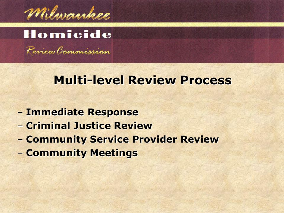 Multi-level Review Process –Immediate Response –Criminal Justice Review –Community Service Provider Review –Community Meetings