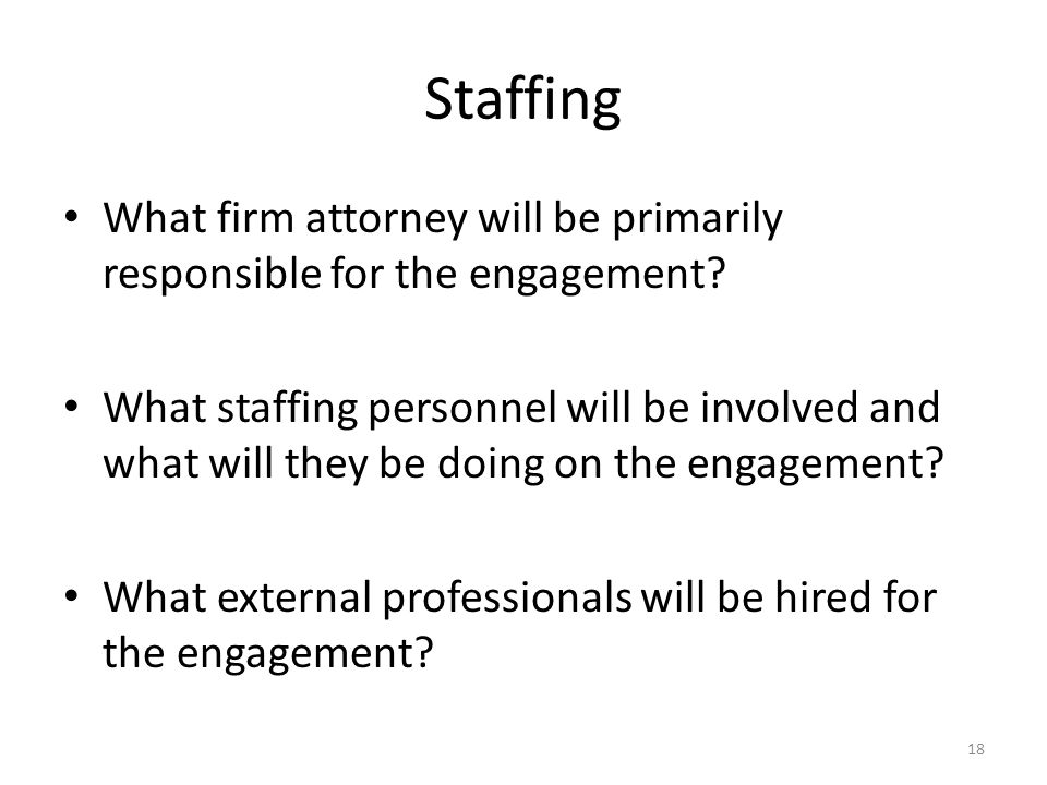 Staffing What firm attorney will be primarily responsible for the engagement? What staffing personnel will be involved and what will they be doing on