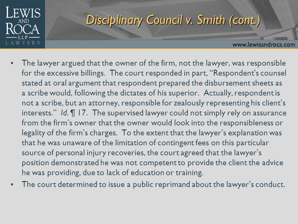 www.lewisandroca.com Disciplinary Council v.
