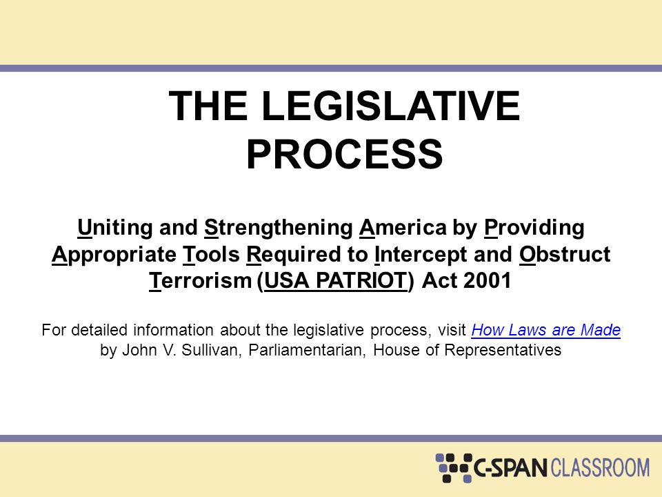 INTRODUCTION Discussion Questions: Describe the major actions taken by both houses of Congress on the USA PATRIOT bill up to the introduction of HR 3162.