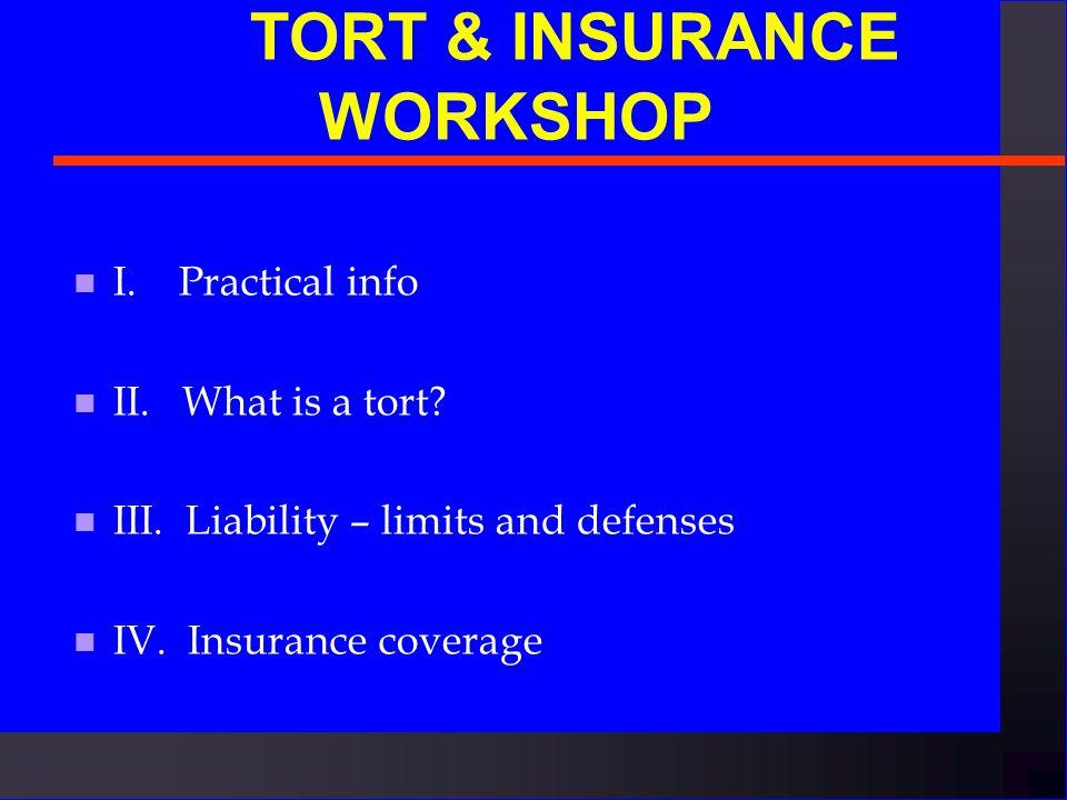 T ORT & INSURANCE WORKSHOP n North Carolina State University April 2002 David Drooz, Associate General Counsel Jim Semple, Director, Insurance & Risk Management N.C.