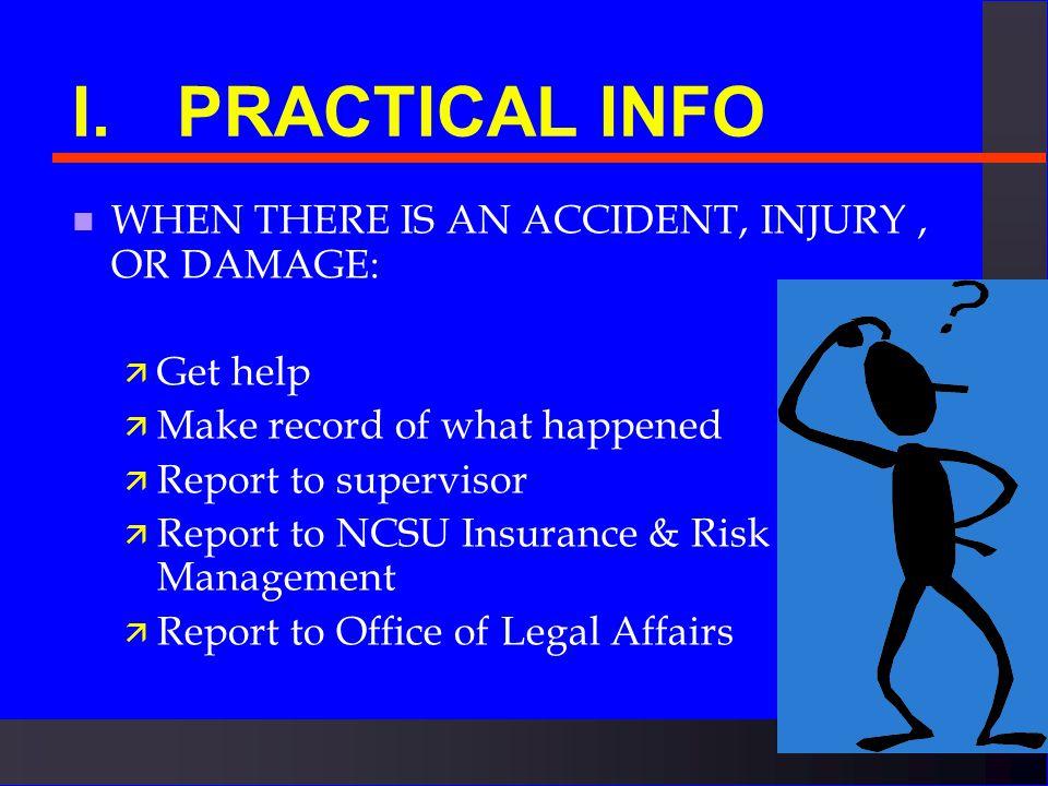TORT & INSURANCE WORKSHOP n I. Practical info n II.