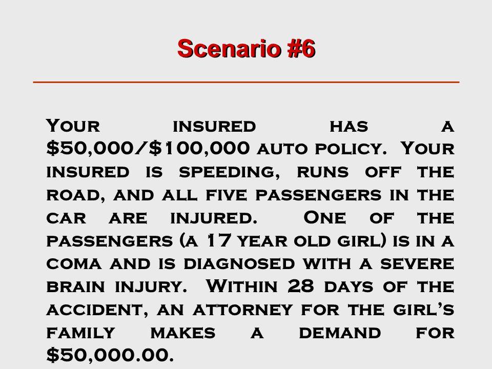 Scenario #6 Your insured has a $50,000/$100,000 auto policy.