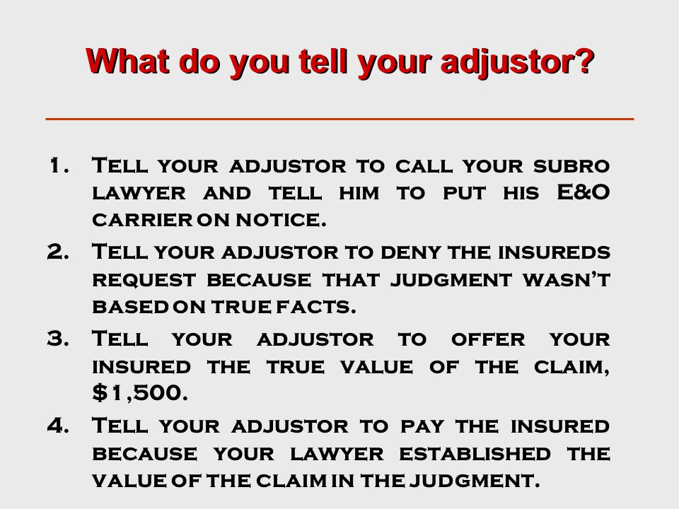 What do you tell your adjustor.