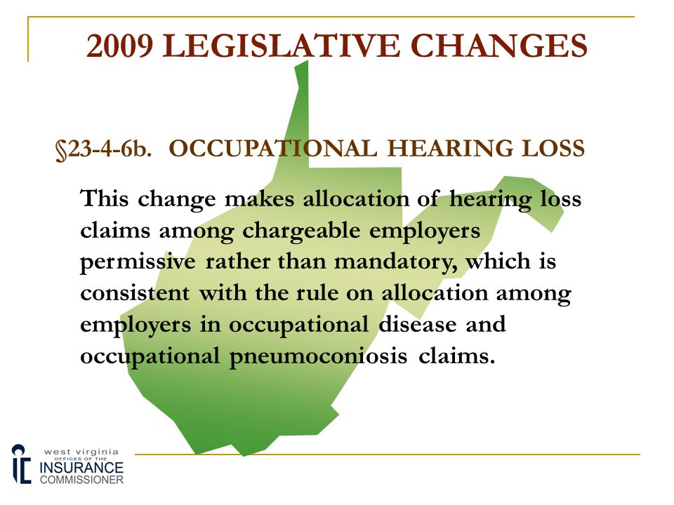 2009 LEGISLATIVE CHANGES §23-4-1c. TTD BENEFITS This change allows a claimant to request an expedited hearing for a failure to timely rule upon, or a
