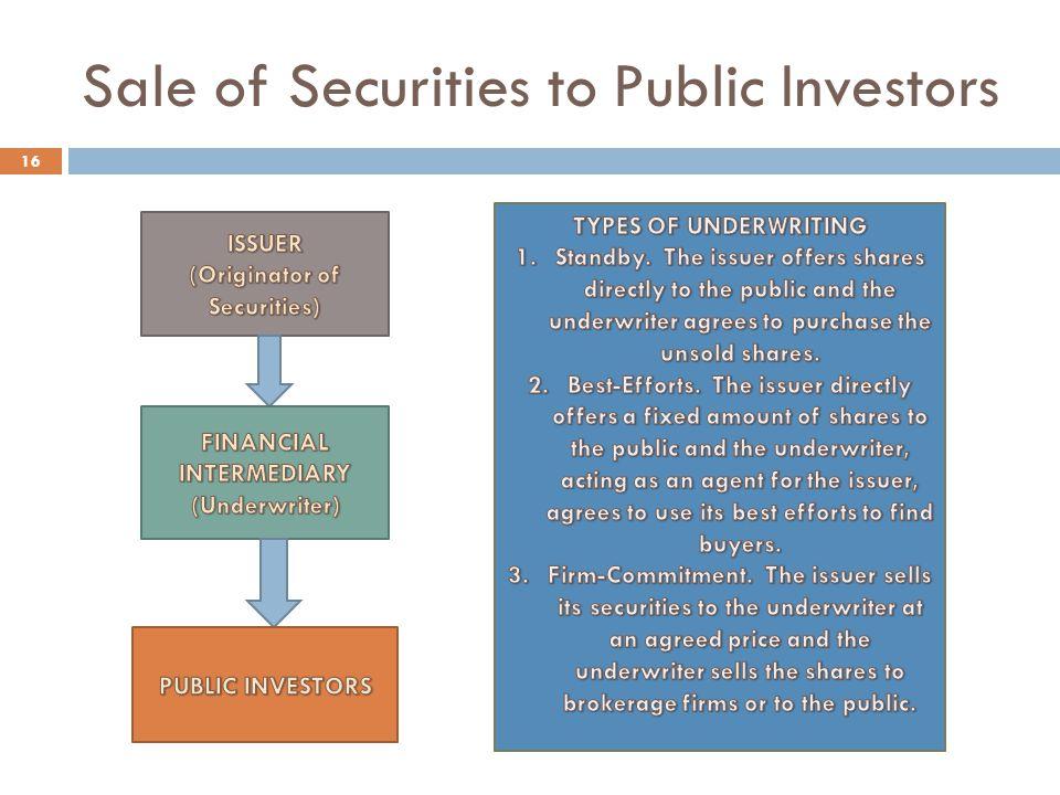 Sale of Securities to Public Investors 16