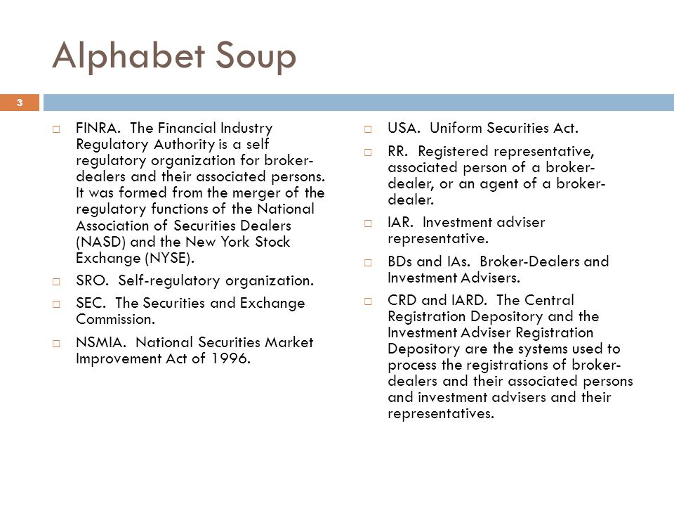 Alphabet Soup  FINRA.