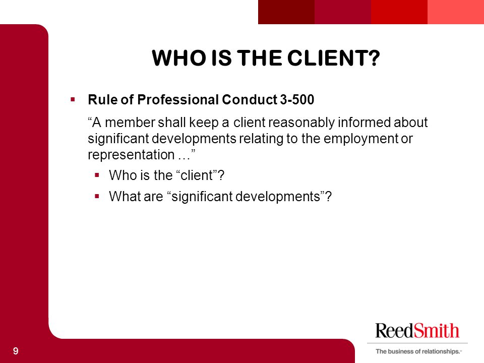 WHO IS THE CLIENT.