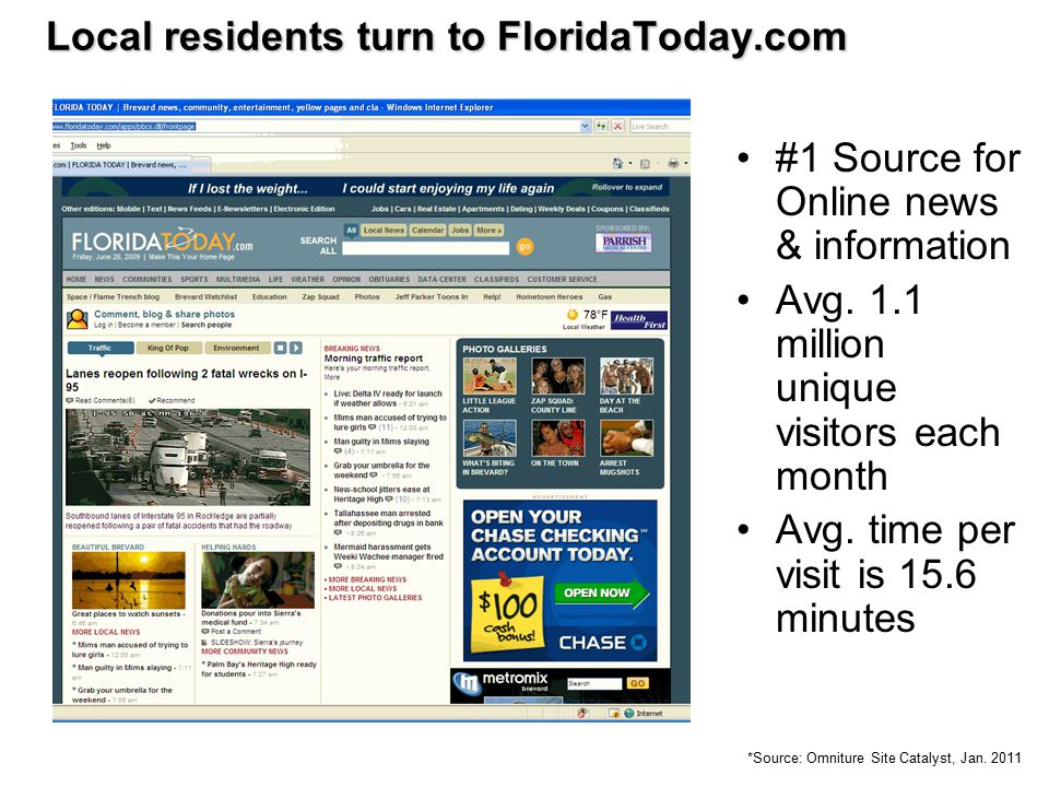 #1 Source for Online news & information Avg. 1.1 million unique visitors each month Avg. time per visit is 15.6 minutes Local residents turn to Florid