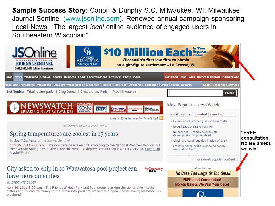Sample Success Story: Sample Success Story: Canon & Dunphy S.C.