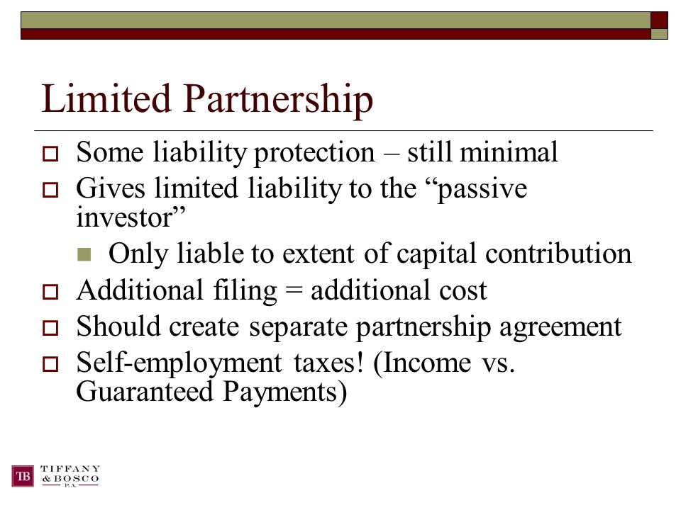 Limited Partnership  Some liability protection – still minimal  Gives limited liability to the passive investor Only liable to extent of capital contribution  Additional filing = additional cost  Should create separate partnership agreement  Self-employment taxes.