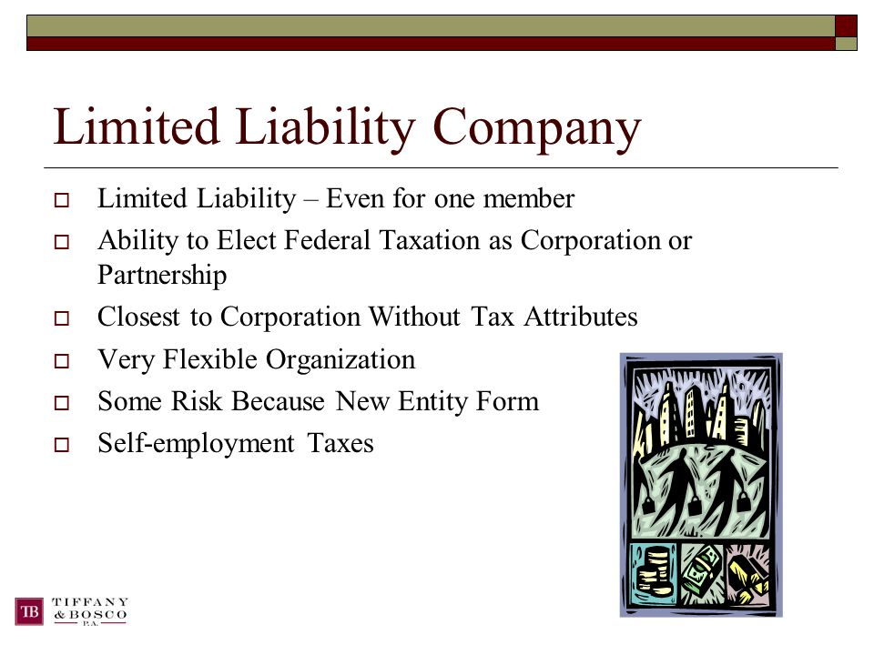 Limited Liability Company  Limited Liability – Even for one member  Ability to Elect Federal Taxation as Corporation or Partnership  Closest to Corporation Without Tax Attributes  Very Flexible Organization  Some Risk Because New Entity Form  Self-employment Taxes