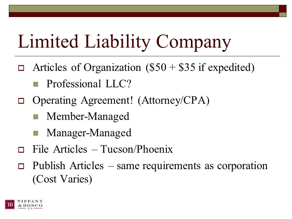 Limited Liability Company  Articles of Organization ($50 + $35 if expedited) Professional LLC.