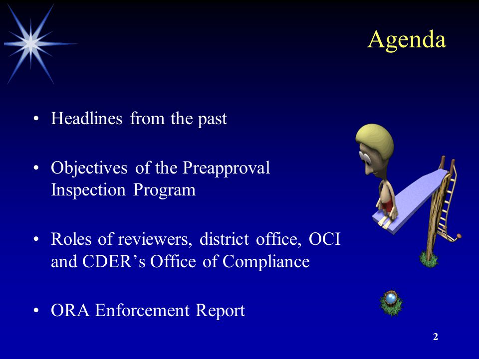 2 Agenda Headlines from the past Objectives of the Preapproval Inspection Program Roles of reviewers, district office, OCI and CDER's Office of Compliance ORA Enforcement Report