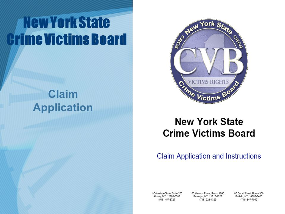 New York State Crime Victims Board Claim Application