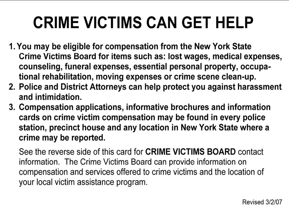 Who May Be Eligible - continued A person who has paid or incurred the burial expenses of an innocent victim who died as a direct result of a crime.