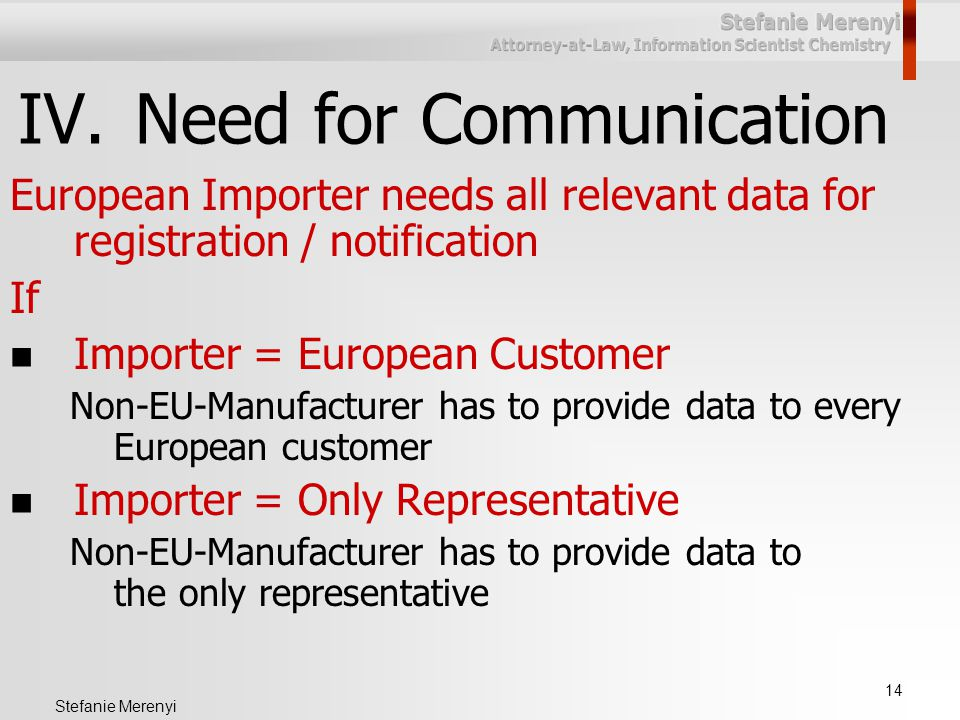 14 Stefanie Merenyi IV.Need for Communication European Importer needs all relevant data for registration / notification If Importer = European Customer Non-EU-Manufacturer has to provide data to every European customer Importer = Only Representative Non-EU-Manufacturer has to provide data to the only representative