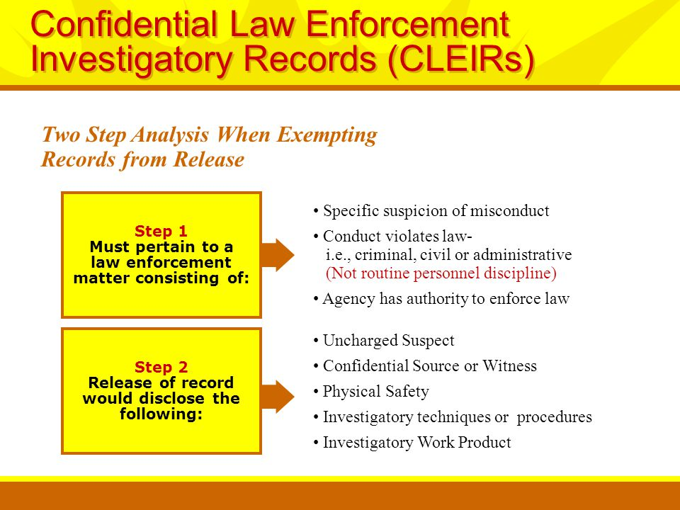 Step 1 Must pertain to a law enforcement matter consisting of: Specific suspicion of misconduct Conduct violates law- i.e., criminal, civil or administrative (Not routine personnel discipline) Agency has authority to enforce law Uncharged Suspect Confidential Source or Witness Physical Safety Investigatory techniques or procedures Investigatory Work Product Confidential Law Enforcement Investigatory Records (CLEIRs) Two Step Analysis When Exempting Records from Release Step 2 Release of record would disclose the following: