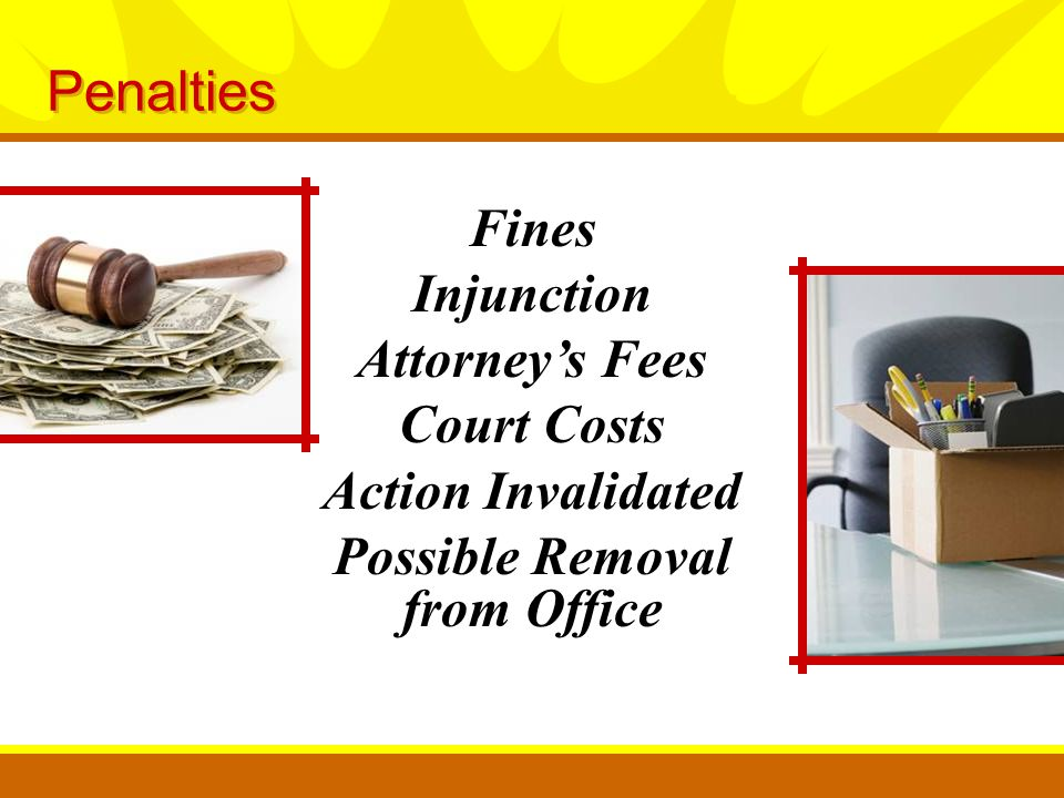 Fines Injunction Attorney's Fees Court Costs Action Invalidated Possible Removal from Office Penalties