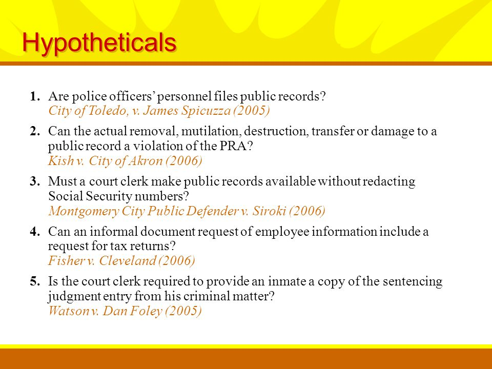 1.Are police officers' personnel files public records.