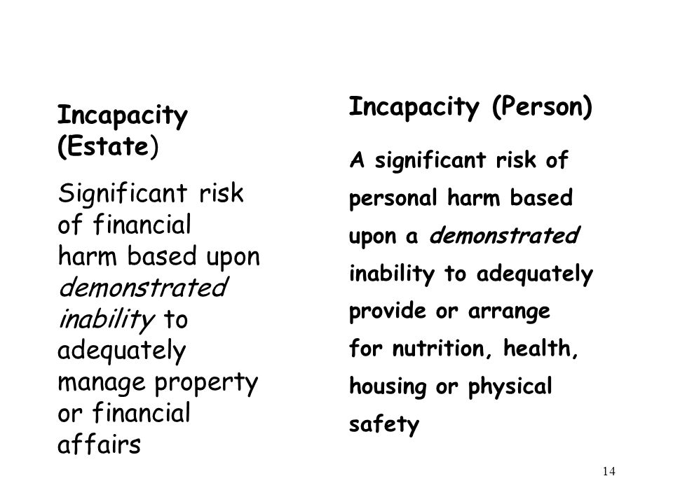 14 Incapacity (Estate) Significant risk of financial harm based upon demonstrated inability to adequately manage property or financial affairs Incapacity (Person) A significant risk of personal harm based upon a demonstrated inability to adequately provide or arrange for nutrition, health, housing or physical safety