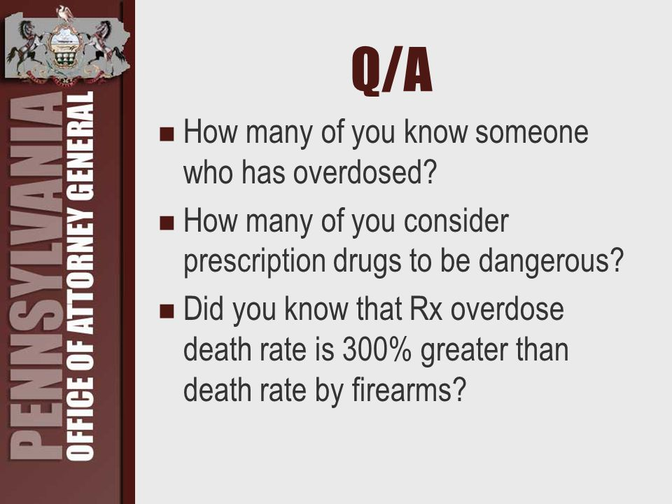 Q/A How many of you know someone who has overdosed.